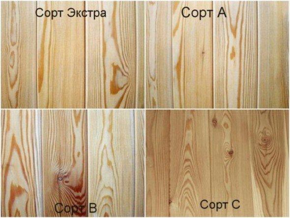 Классификация вагонки по сортам древесины