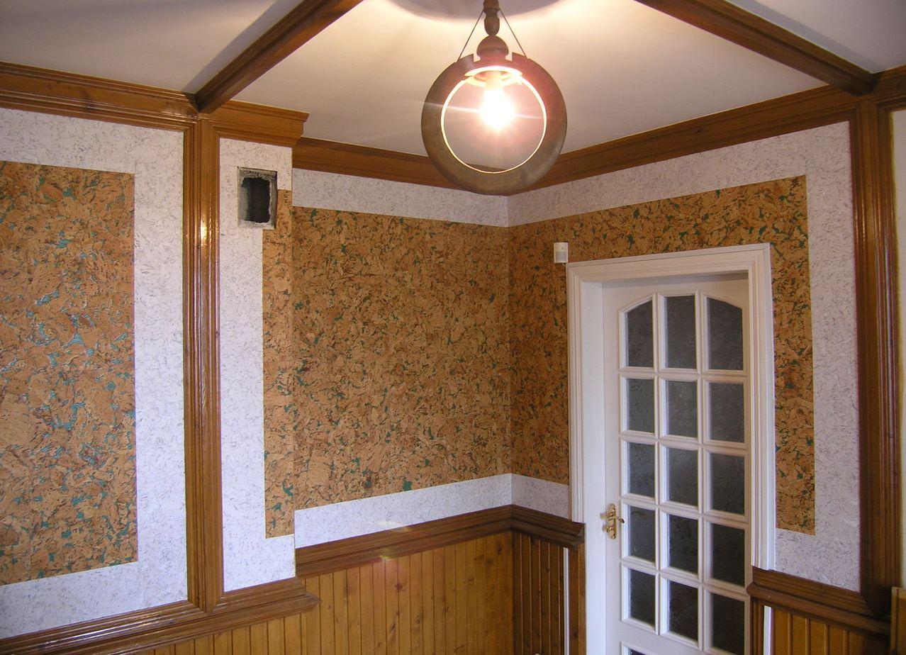 Применение пробковых обоев для стен