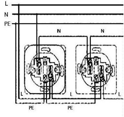 Схема монтажа розетки