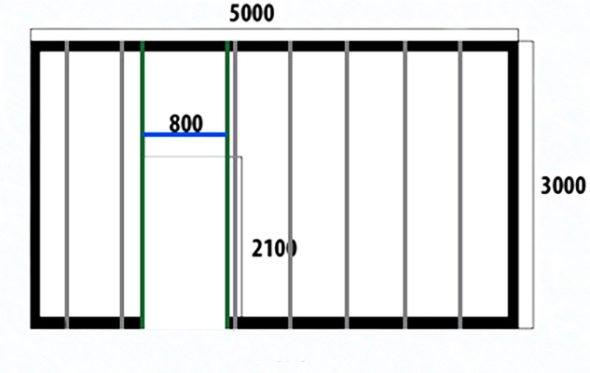 Схема расположения стоек каркаса перегородки из гипсокартона