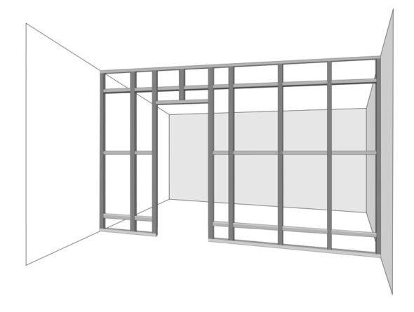 Схема каркаса перегородки из гипсокартона с перемычками между стойками
