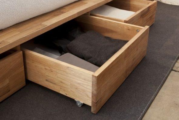 выдвижные ящики в подиум-кровати