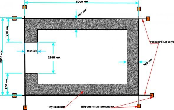 Чёртёж-схема фундамента гаража
