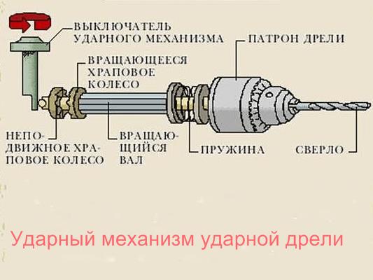 Принцип работы ударного механизма ударной дрели