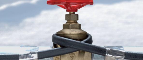 Кабель обогрева на водопроводной трубе