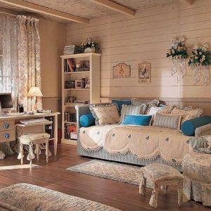 Сочетание розового и голубого в спальне