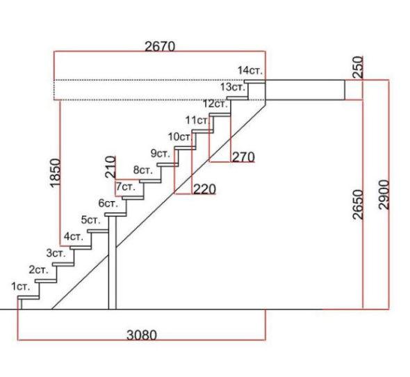 Чертёж лестницы в подвальное помещение