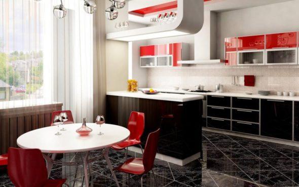 Дизайн кухни красного и чёрного цвета