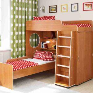 Двухъярусная кровать со встроенным шкафом