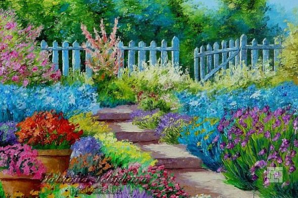 Картина с изображением дворика