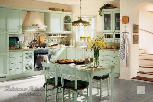 Кухня в стиле прованс фисташкового цвета
