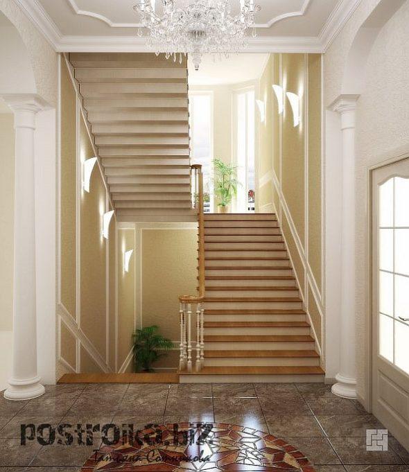Холл с П-образной лестницей