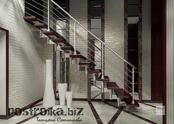 Холл в доме в серо-коричневых тонах