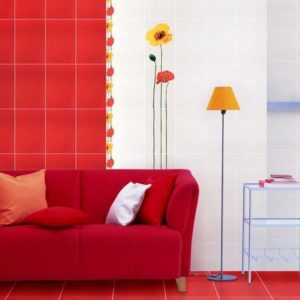 Красная плитка с белой затиркой