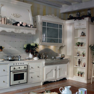 Кухня кантри белого цвета