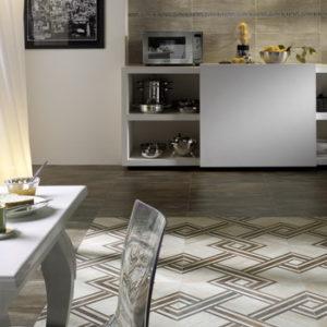 Кухня с ковром из плитки с геометрическим рисунком