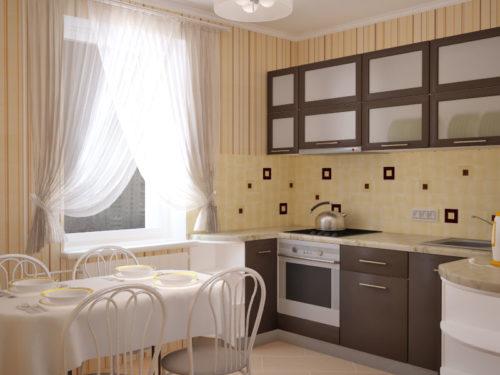 Маленькая кухня с гарнитуром кофейного цвета