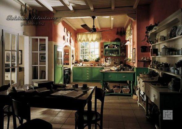 Кухня в стиле кантри зелёного цвета