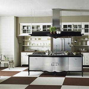 Пол с шахматной плиткой на кухне