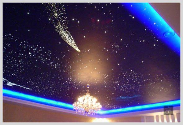 Оформление потолка светодиодами «Звездное небо»