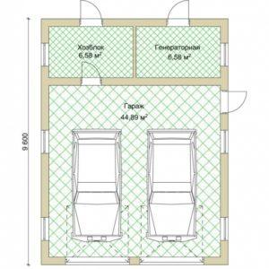 Проект гаража под 2 машины