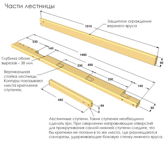 Сборка элементов ограждения и лестницы