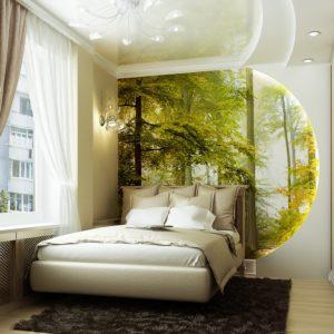 Спальня бежевых и зелёных тонов