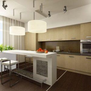 Светлая кухня с барной стойкой и стульями