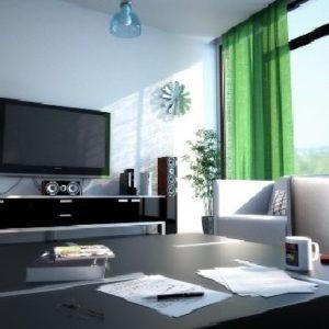 Пример обустройства гостиной с большими окнами
