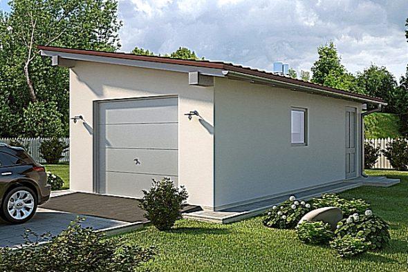 Гараж с односкатной крышей на фото