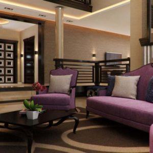 Мебель в гостиной в лавандовых тонах