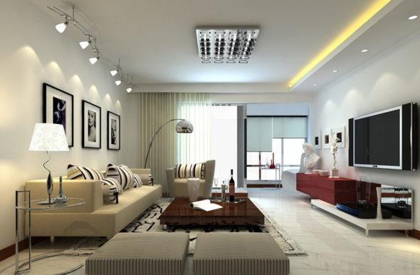 Гостиная с различными видами светильников