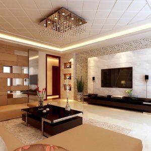 Гостиная со сложным дизайном потолка