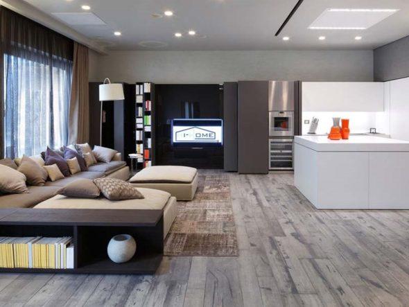 Дизайн гостиной в стиле хай-тек
