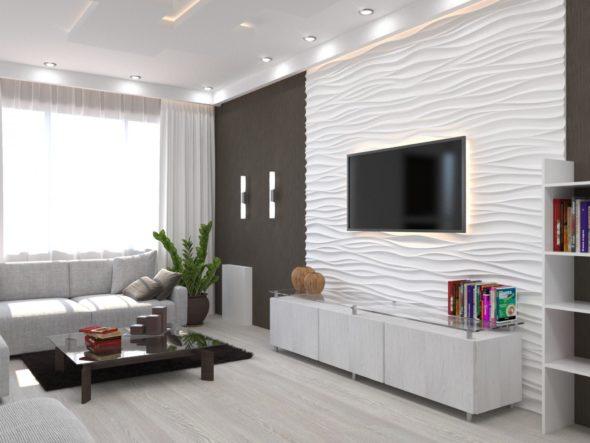 Гостиная в светлых тонах с отделкой декоративной панелью