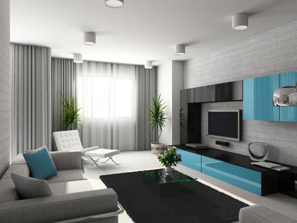 Интерьер гостиной в серо-голубых тонах