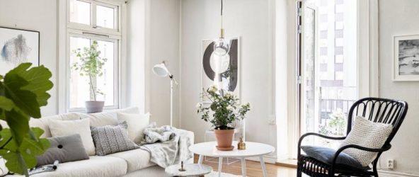 Интерьере гостиной в скандинавском стиле