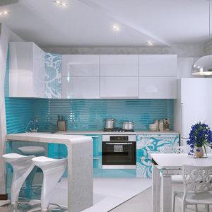 Кухня модерн в бирюзовых и белых тонах
