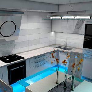 Белая кухня с голубой подстветкой
