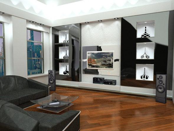 Мебель для гостиной модерн с глянцевой поверхностью