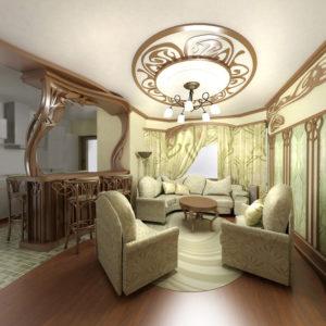 Гостиная с декоративной розеткой для светильника