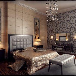 Спальня в стиле модерн в бежевых тонах