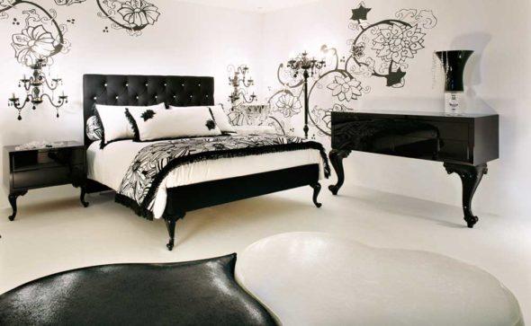 Спальня с мебелью из тёмных пород дерева