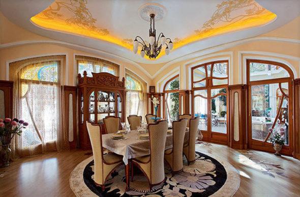 Лёгкий и воздушный интерьер гостиной в стиле модерн
