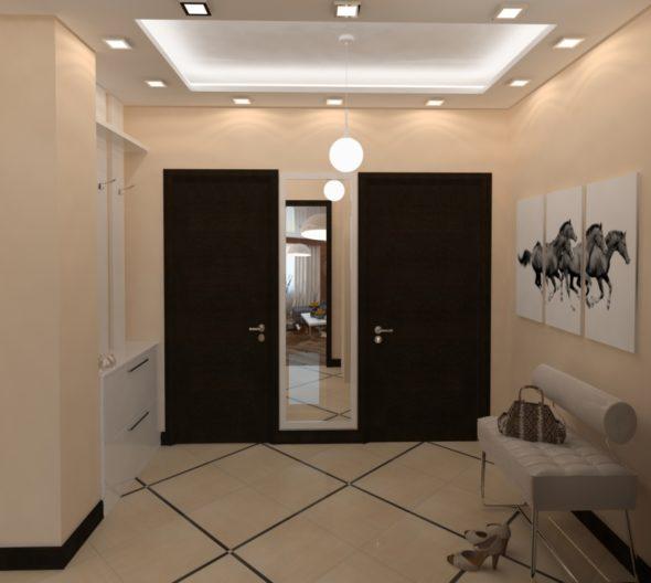 Прихожая с потолком сложной конструкции и точечными светильниками
