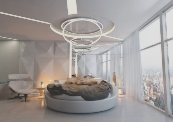 Спальня в стиле модерн с кроватью круглой формы