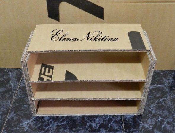 Полка для обуви из картонной коробки
