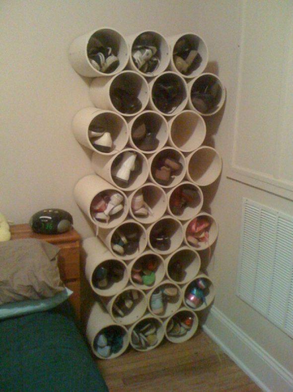 Полка для обуви из труб ПВХ в готовом виде