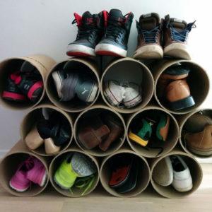 Конструкция для хранения обуви из труб ПВХ