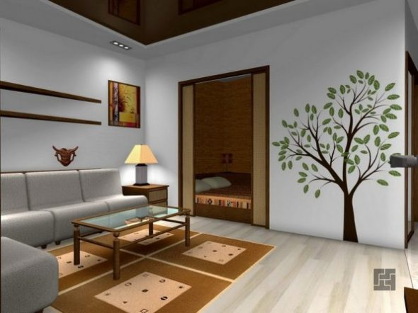 дизайн разделения однокомнатной квартиры для одного — двух человек
